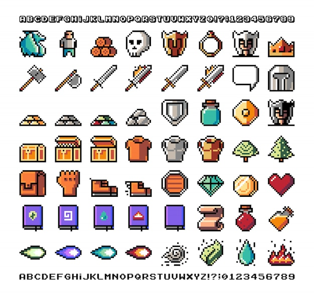Grafika pikselowa, przedmiot gry, ikona i przedmioty do projektu. ilustracja. fantastyczny świat. stara konsola do gier.