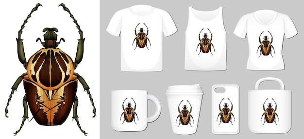 Grafika przedstawiająca chrząszcza na różnych szablonach produktów