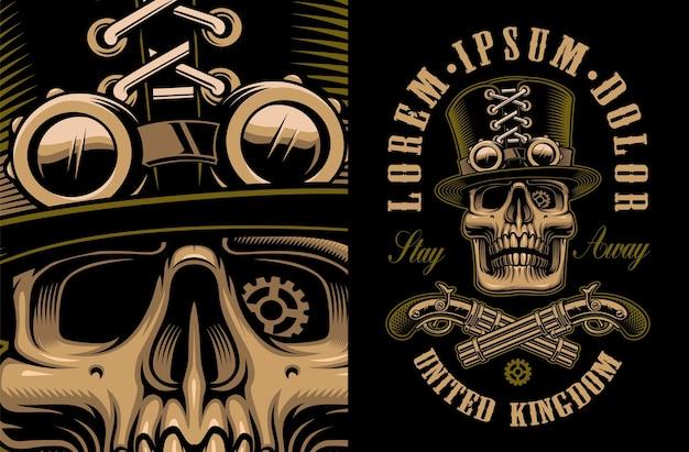 Grafika przedstawiająca czaszkę w kapeluszu ze skrzyżowanymi pistoletami w stylu steampunk. wszystkie elementy, kolory, tekst znajdują się w osobnych grupach.
