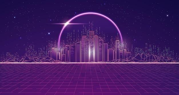 Grafika przedstawiająca futurystyczne miasto z kosmosem i fioletową planetą