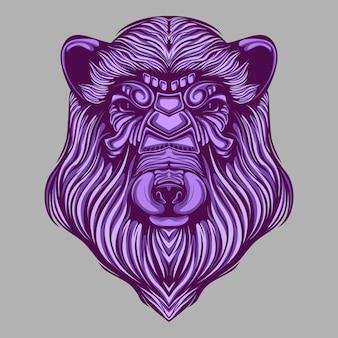 Grafika przedstawiająca głowę niedźwiedzia