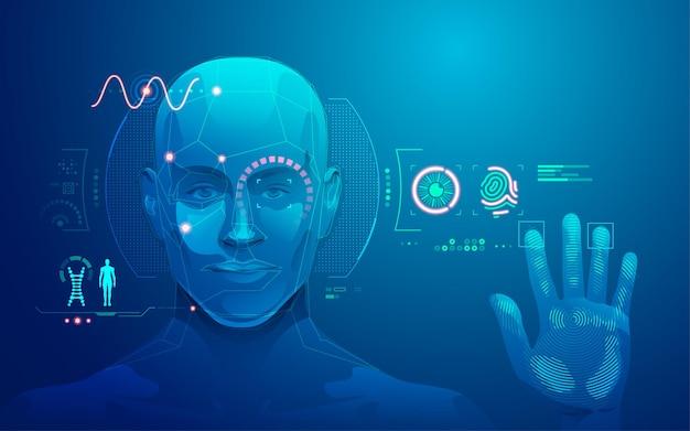 Grafika przedstawiająca interfejs skanowania ludzkiej twarzy i linii papilarnych