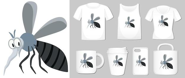 Grafika przedstawiająca komara na różnych typach szablonów produktów