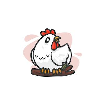 Grafika przedstawiająca kurczaka maskotkę, idealna do logo, ikony lub maskotki.