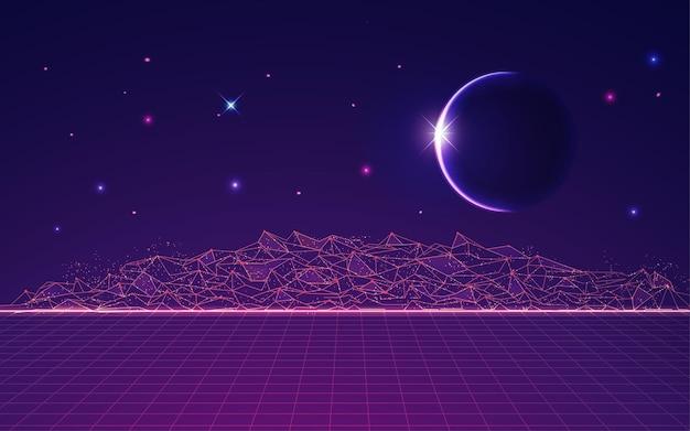 Grafika przedstawiająca poligonalną ziemię z przestrzenią kosmiczną w tle