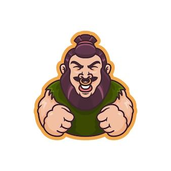 Grafika przedstawiająca silną ludzką maskotkę, idealna na logo, ikonę lub maskotkę