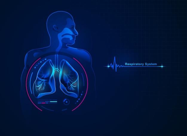 Grafika przedstawiająca układ oddechowy z futurystycznym elementem