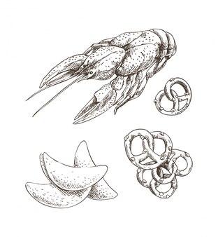 Grafika raki z frytkami i preclem