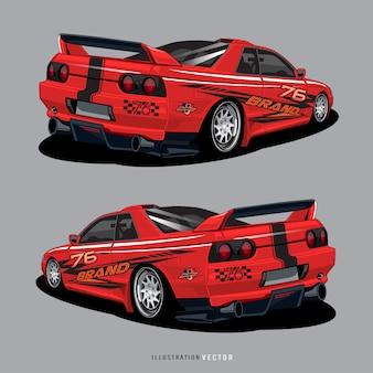 Grafika samochodu sportowego. abstrakcyjne linie z białym wzorem na winylowym opakowaniu pojazdu