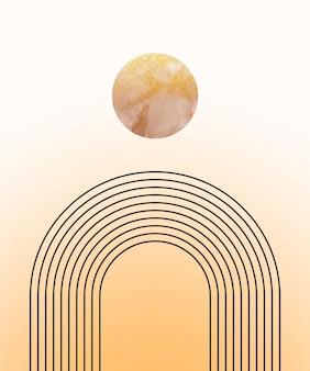 Grafika ścienna boho z tęczowym i złotym kształtem