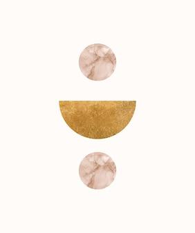 Grafika ścienna boho ze złotym nowoczesnym kształtem
