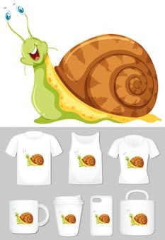 Grafika ślimaków różnych szablonów produktów