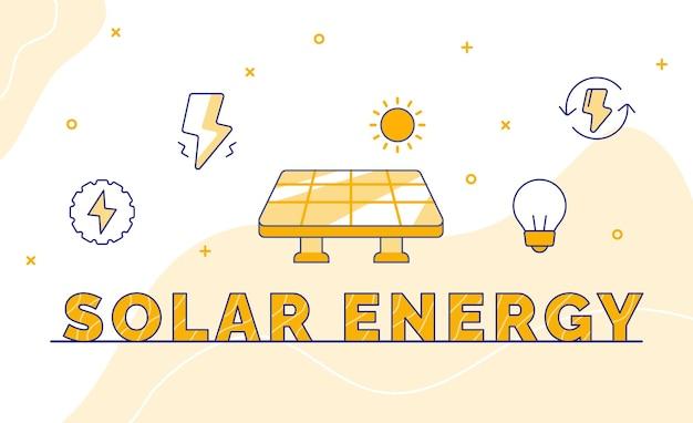 Grafika słowna kaligrafia typografii energii słonecznej ze stylem konturu