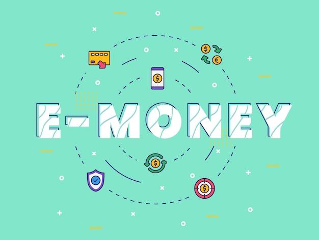Grafika słowna typografia e-pieniędzy z wypełnionym kolorem
