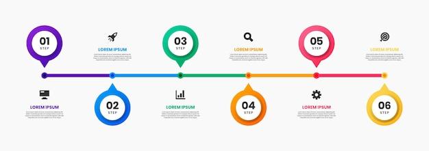 Grafika szablonów projektu elementów infografiki na osi czasu z ikonami i 6 krokami