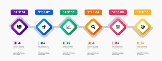 Grafika szablonów projektu elementów infografiki z ikonami i 6 krokami