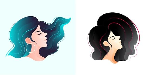 Grafika twarzy młodej kobiety z dwoma różnymi fryzurami