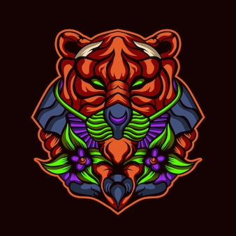 Grafika tygrysa w głębokim lesie