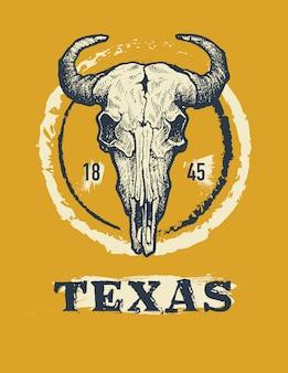 Grafika w bawełniane koszulki z bawołem texas