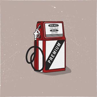 Grafika w stylu vintage pompa stacji benzynowej. styl retro