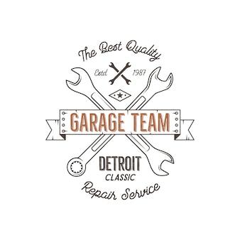 Grafika warsztatowa w stylu vintage, serwis w garażu, detroit classic, druk typografii serwisu naprawczego.