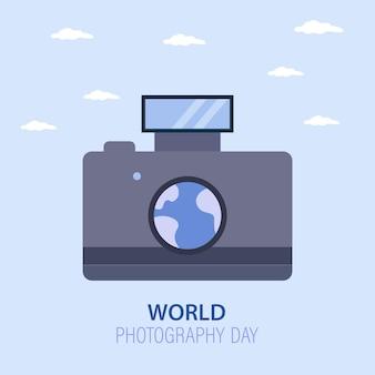 Grafika wektorowa aparatu na światowy dzień fotografii