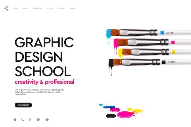 Grafika wektorowa banera internetowego szkoły projektowania graficznego
