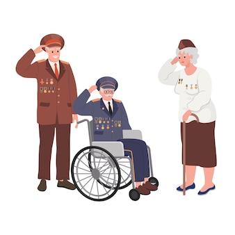 Grafika wektorowa: dzień weteranów national american holiday z grupą emerytowanych wojskowych