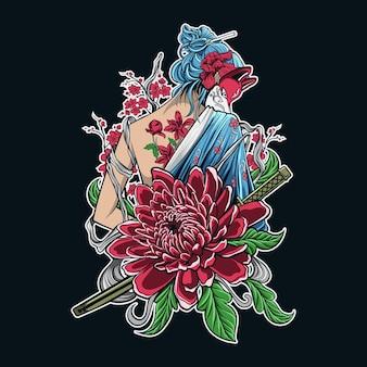 Grafika wektorowa dziewczyny japoński samuraj z kwiatowym ornamentem
