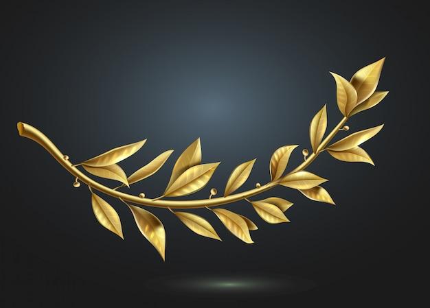 Grafika wektorowa. gałąź złotego lauru jest częścią wieńca zwycięzcy.