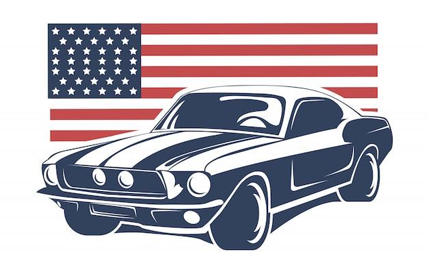 Grafika wektorowa ilustracja amerykańskiego samochodu mięśniowego