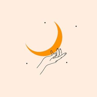 Grafika wektorowa ilustracja z elementem logobohema magiczna linia sztuki złotego półksiężyca