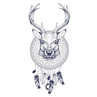 Grafika wektorowa jelenia i łapacz snów