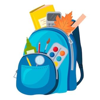 Grafika wektorowa niebieski plecak z przyborami szkolnymi. pojęcie edukacji szkolnej.