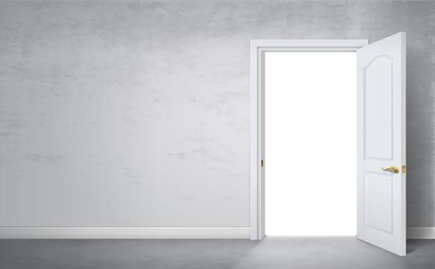Grafika wektorowa. otwarte drzwi w pokoju to szara stara ściana.