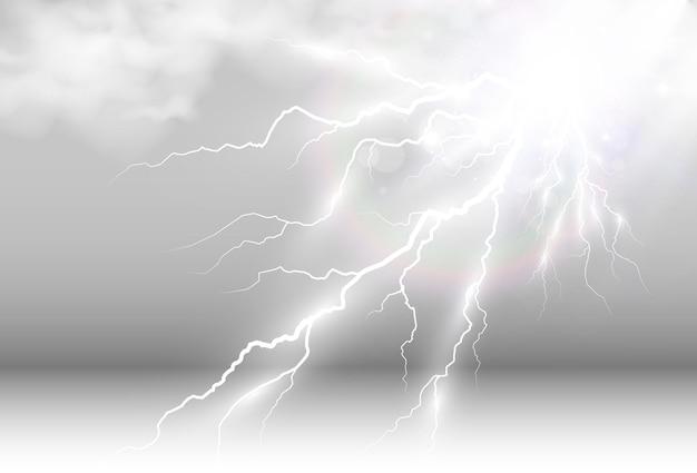Grafika wektorowa realistycznej błyskawicy błysk grzmotu na przezroczystym tle