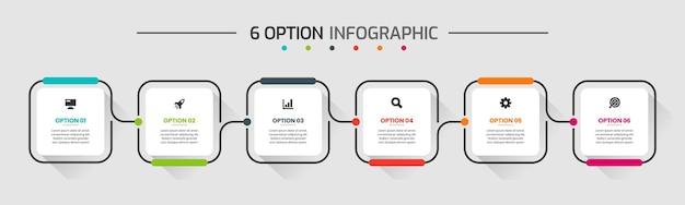 Grafika wektorowa szablonów projektowania elementów infografiki z ikonami i 6 opcjami