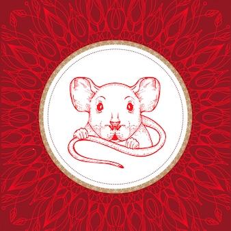 Grafika wektorowa szczura. symbol 2020.
