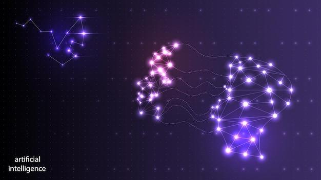 Grafika wektorowa sztucznej inteligencji w postaci świetlistej ludzkiej głowy. eps 10