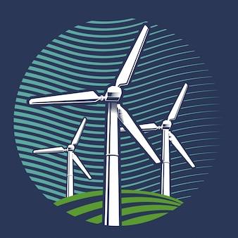 Grafika wektorowa turbiny wiatrowej