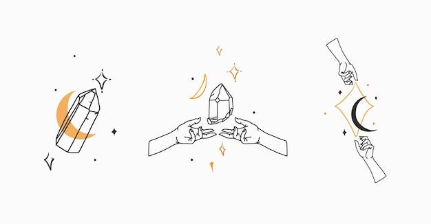 Grafika wektorowa zarys logo kolekcja zestaw z kryształamiksiężycgwiazdy w ludzkiej dłoniastrologia mistyczna min...