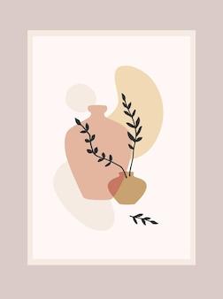 Grafika współczesna z abstrakcyjną rośliną.