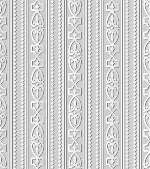 Grafika z białego papieru 3d diamond check curve cross crest frame line, stylowy wzór dekoracji.