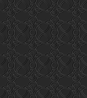 Grafika z ciemnego papieru curve round cross crest frame chain