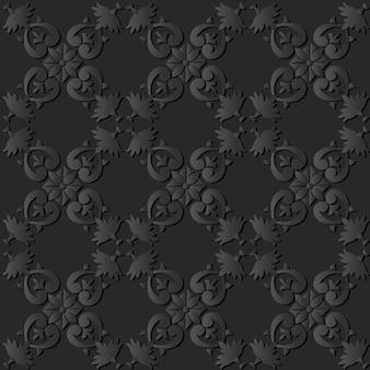 Grafika z ciemnego papieru curve spiral check cross leaf frame flower
