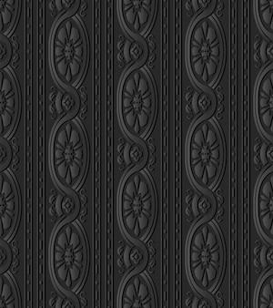 Grafika z ciemnego papieru krzywa krzyż rama spiralna flower vine line