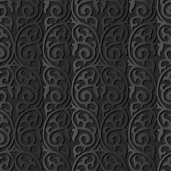 Grafika z ciemnego papieru round curve spiral cross frame vine