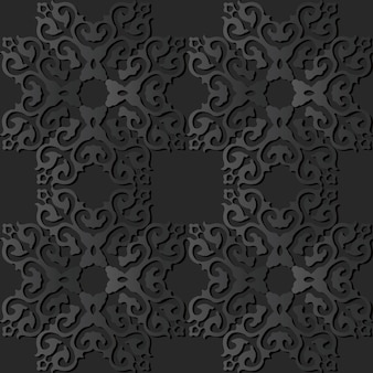 Grafika z ciemnego papieru square curve cross crest frame