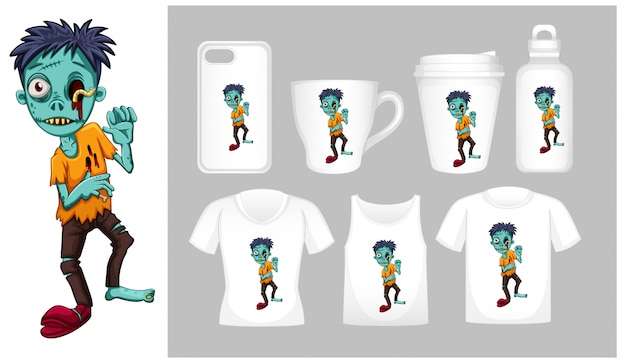 Grafika zombie na różnych typach szablonu produktu