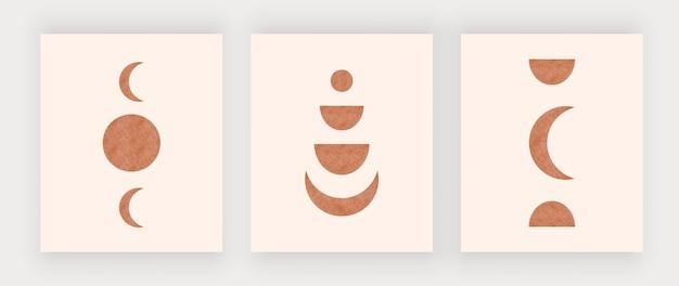 Grafiki ścienne z księżycem i słońcem. plakaty projektowe boho z połowy wieku